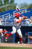 Auburn Doubledays right fielder Juan Soto (26) at bat during the first game of a doubleheader against the Batavia Muckdogs on September 4, 2016 at Dwyer Stadium in Batavia, New York.  Batavia defeated Auburn 1-0 in a continuation of a game started on August 13. (Mike Janes/Four Seam Images)