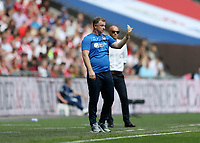28th May 2018, Wembley Stadium, London, England;  EFL League 2 football, playoff final, Coventry City versus Exeter City; Coventry City manager Mark Robins giving instructions to his players from the touchline
