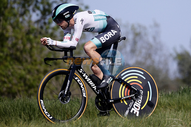 Ben Zwiehoff (GER) Bora-Hansgrohe in action during Stage 2 of the 100th edition of the Volta Ciclista a Catalunya 2021, an 18.5km Individual Time Trial around Banyoles, Spain. 23rd March 2021.   <br /> Picture: Bora-Hansgrohe/Luis Angel Gomez/BettiniPhoto | Cyclefile<br /> <br /> All photos usage must carry mandatory copyright credit (© Cyclefile | Bora-Hansgrohe/Luis Angel Gomez/BettiniPhoto)