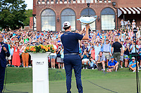 5th September 2021: Atlanta, Georgia, USA;  Patrick Cantlay (USA) holds up the FedEx Cup to the fans after winning the TOUR Championship  at the East Lake Club in Atlanta, Georgia.