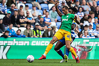 Preston North End's Lukas Nmecha competing with Reading's Tyler Blackett <br /> <br /> Photographer Andrew Kearns/CameraSport<br /> <br /> The EFL Sky Bet Championship - Reading v Preston North End - Saturday 30th March 2019 - Madejski Stadium - Reading<br /> <br /> World Copyright © 2019 CameraSport. All rights reserved. 43 Linden Ave. Countesthorpe. Leicester. England. LE8 5PG - Tel: +44 (0) 116 277 4147 - admin@camerasport.com - www.camerasport.com
