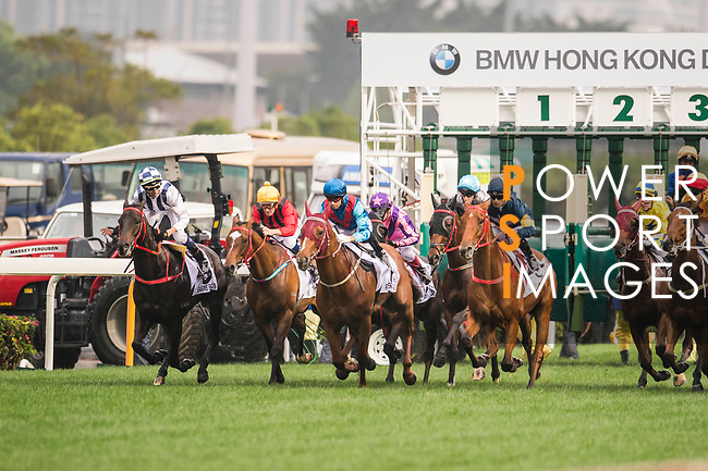 Jockey Joao Moreira riding Rapper Dragon (3rd from left) competes during the 2017 BMW Hong Kong Derby Race at the Sha Tin Racecourse on 19 March 2017 in Hong Kong, China. Photo by Marcio Rodrigo Machado / Power Sport Images