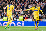Blaise Matuidi of Juventus (R) celebrates after scoring his goal with Giorgio Chiellini of Juventus (L) during the UEFA Champions League 2017-18 quarter-finals (2nd leg) match between Real Madrid and Juventus at Estadio Santiago Bernabeu on 11 April 2018 in Madrid, Spain. Photo by Diego Souto / Power Sport Images