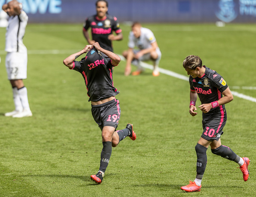 Leeds United's Pablo Hernandez (centre) celebrates scoring his side's first goal <br /> <br /> Photographer Andrew Kearns/CameraSport<br /> <br /> The EFL Sky Bet Championship - Swansea City v Leeds United - Sunday 12th July 2020 - Liberty Stadium - Swansea<br /> <br /> World Copyright © 2020 CameraSport. All rights reserved. 43 Linden Ave. Countesthorpe. Leicester. England. LE8 5PG - Tel: +44 (0) 116 277 4147 - admin@camerasport.com - www.camerasport.com
