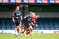 Kyle Taylor, Southend United under pressure from Matt Jay of Exeter City during Southend United vs Exeter City, Sky Bet EFL League 2 Football at Roots Hall on 10th October 2020