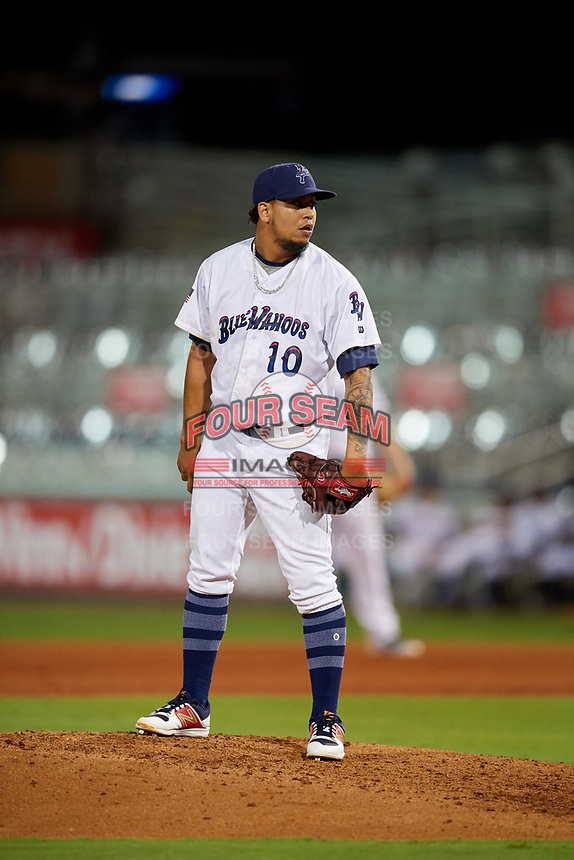 Pensacola Blue Wahoos Shrimp relief pitcher Alejandro Chacin (10) looks in for the sign during a game against the Jacksonville Jumbo on August 15, 2018 at Blue Wahoos Stadium in Pensacola, Florida.  Jacksonville defeated Pensacola 9-2.  (Mike Janes/Four Seam Images)