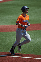 Chase Keng (4) of the UTSA Roadrunners hustles down the first base line against the Charlotte 49ers at Hayes Stadium on April 18, 2021 in Charlotte, North Carolina. (Brian Westerholt/Four Seam Images)