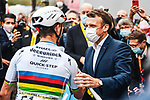 French President Emmanuel Macron  chats with World Champion Julian Alaphilippe (FRA) Deceuninck-Quick-Step at the end of Stage 18 of the 2021 Tour de France, running 129.7km from Pau to Luz Ardiden, France. 15th July 2021.  <br /> Picture: A.S.O./Charly Lopez   Cyclefile<br /> <br /> All photos usage must carry mandatory copyright credit (© Cyclefile   A.S.O./Charly Lopez)