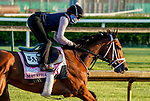 April 26, 2021: Malathaat, trained by trainer Todd Pletcher, exercises in preparation for the Kentucky Oaks at Churchill Downs on April 26, 2021 in Louisville, Kentucky. Scott Serio/Eclipse Sportswire/CSM
