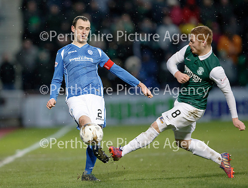 Hibs v St Johnstone...30.01.16   Utilita Scottish League Cup Semi-Final, Tynecastle..<br /> Dave Mackay is tackled by Fraser Fyvie<br /> Picture by Graeme Hart.<br /> Copyright Perthshire Picture Agency<br /> Tel: 01738 623350  Mobile: 07990 594431