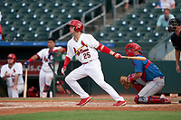 Palm Beach Cardinals Cole Kreuter (25) bats during a Florida State League game against the Clearwater Threshers on August 9, 2019 at Roger Dean Chevrolet Stadium in Jupiter, Florida.  Palm Beach defeated Clearwater 3-0 in the second game of a doubleheader.  (Mike Janes/Four Seam Images)