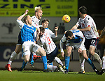 St Johnstone v Ross County…24.10.17…  McDiarmid Park…  SPFL<br />Steven Anderson and Andrew Davies in a goal mouth scramble<br />Picture by Graeme Hart. <br />Copyright Perthshire Picture Agency<br />Tel: 01738 623350  Mobile: 07990 594431
