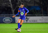 Silke Vanwynsberghe (21 Gent) pictured during a female soccer game between  AA Gent Ladies and Sporting Charleroi Feminin on the fifth matchday of the 2020 - 2021 season of Belgian Scooore Womens Super League , friday 16 th of October 2020  in Oostakker , Belgium . PHOTO SPORTPIX.BE | SPP | DAVID CATRY