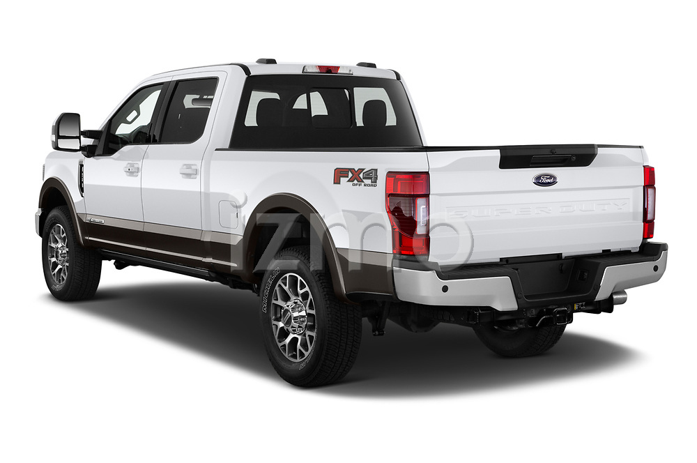 Car pictures of rear three quarter view of 2021 Ford F-250-Super-Duty Lariat 4 Door Pick-up Angular Rear