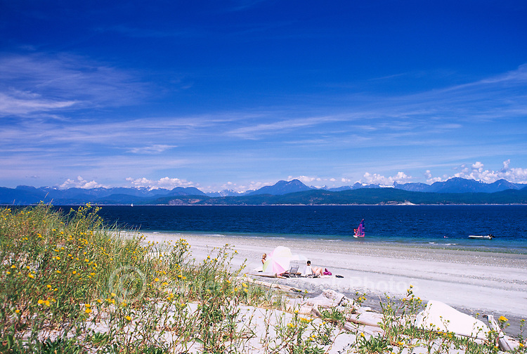 Savary Island, Northern Gulf Islands, BC, British Columbia, Canada - Beach at Indian Point along Georgia Strait, Pacific Ocean