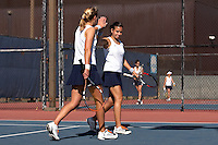 SAN ANTONIO, TX - FEBRUARY 9, 2008: The St. Edward's University Hilltoppers vs. The University of Texas at San Antonio Roadrunners Women's Tennis at the UTSA Tennis Center. (Photo by Jeff Huehn)