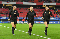 20200307  Valenciennes , France : referee Marta Huerta De Aza (M) with assistant referees Guadalupe Porras Ayuso and Eliana Fernandez Gonzalez  pictured during the warming up of the female football game between the national teams of France and Brasil on the second matchday of the Tournoi de France 2020 , a prestigious friendly womensoccer tournament in Northern France , on Saturday 7 th March 2020 in Valenciennes , France . PHOTO SPORTPIX.BE | DIRK VUYLSTEKE