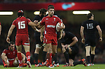 Wales pair Leigh Halfpenny and Dan Biggar give one another a pat on the back.<br /> Dove men Series 2014<br /> Wales v New Zealand<br /> 22.11.14<br /> ©Steve Pope -SPORTINGWALES