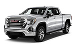 2019 GMC Sierra 1500 SLT 4 Door Pick Up angular front stock photos of front three quarter view