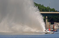 Jul. 18, 2009; Augusta, GA, USA; IHBA top fuel hydro driver Ron McLellan races during qualifying for the Augusta Southern Nationals on the Savannah River. Mandatory Credit: Mark J. Rebilas-