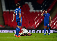 Harry Maguire (Manchester United) of England after fouling Kasper Dolberg (Nice) of Denmark and subsequently sent off after receiving a second yellow card during the UEFA Nations League match played behind closed doors due to the current government Covid-19 rules within sports venues between England and Denmark at Wembley Stadium, London, England on 14 October 2020. Photo by Andy Rowland.