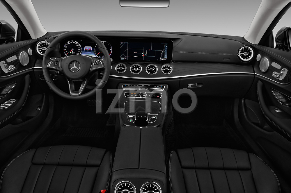 Stock photo of straight dashboard view of a 2018 Mercedes Benz E Class Executive 2 Door Coupe