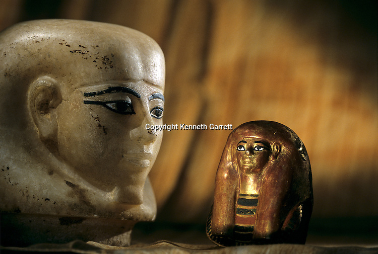 Mask for Viscera and Canopic Stopper for Tjuya; KV 46; Valley of the Kings; reign of Amenhotep III;Tutankhamun and the Golden Age of the Pharaohs, Page 134