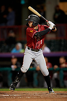 Altoona Curve Brett Pope (3) at bat during an Eastern League game against the Erie SeaWolves on June 3, 2019 at UPMC Park in Erie, Pennsylvania.  Altoona defeated Erie 9-8.  (Mike Janes/Four Seam Images)