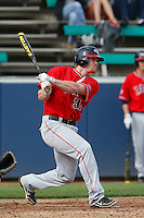 Brock Slavin #31 of the Gonzaga Bulldogs bats against the Loyola Marymount Lions at Page Stadium on March 28, 2013 in Los Angeles, California. (Larry Goren/Four Seam Images)