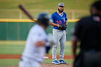 Oklahoma City Dodgers starting pitcher Ben Holmes (33) gets ready to deliver a pitch to batter Austin Dean during a Pacific Coast League game against the New Orleans Baby Cakes on May 6, 2019 at Shrine on Airline in New Orleans, Louisiana.  New Orleans defeated Oklahoma City 4-0.  (Mike Janes/Four Seam Images)