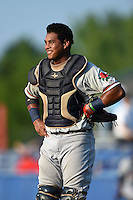 Connecticut Tigers catcher Franklin Navarro (14) during a game against the Batavia Muckdogs on July 21, 2014 at Dwyer Stadium in Batavia, New York.  Connecticut defeated Batavia 12-3.  (Mike Janes/Four Seam Images)