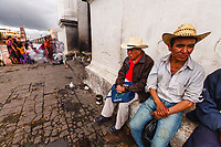 Guatemala, Chichicastenango, fMaya farmers in front of church of Saint Thomas
