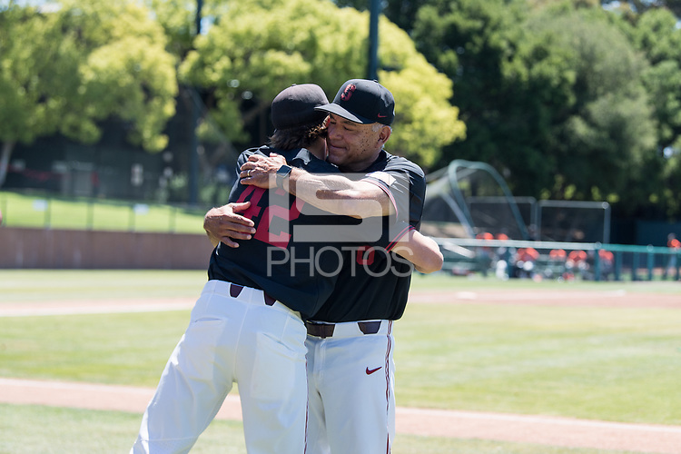 STANFORD, CA - MAY 29: Austin Weiermiller, David Esquer before a game between Oregon State University and Stanford Baseball at Sunken Diamond on May 29, 2021 in Stanford, California.