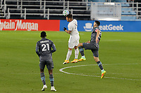 ST PAUL, MN - NOVEMBER 22: Diego Rubio #11 of Colorado Rapids heads the ball during a game between Colorado Rapids and Minnesota United FC at Allianz Field on November 22, 2020 in St Paul, Minnesota.