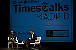 22.09.2012.The New York Times in collaboration with the Department of Arts of the City of Madrid presented, for the first time in Madrid, a series of TimesTalks at the Teatro Fernan Gomez, with prominent international personalities from film, theater and music in conversation with journalists from the New York Times. In the image (L-R) Matt Wolf (Journalist) and Tom Hiddleston (Alterphotos/Marta Gonzalez)