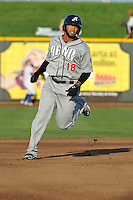 Reno Aces Josh Bell (18) runs to third base during the game against the Omaha Storm Chasers at Werner Park on August 3, 2012 in Omaha, Nebraska.(Dennis Hubbard/Four Seam Images)