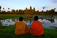 Buddhist Monks watching the Sunset at Angkor Wat,Cambodia