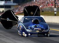 Oct 5, 2013; Mohnton, PA, USA; NHRA pro stock driver Rodger Brogdon during qualifying for the Auto Plus Nationals at Maple Grove Raceway. Mandatory Credit: Mark J. Rebilas-