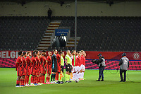 line-up teams pictured before a soccer game between the national teams Under21 Youth teams of Belgium and Denmark on the fourth matday in group I for the qualification for the Under 21 EURO 2023 , on tuesday 12 th of october 2021  in Leuven , Belgium . PHOTO SPORTPIX   STIJN AUDOOREN