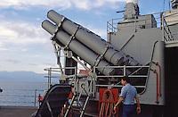 - Harpoon anti-ship missile launcher aboard the battleship Missouri<br /> <br /> - lanciamissili antinave Harpoon a bordo della corazzata Missouri