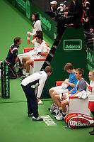 11-02-12, Netherlands,Tennis, Den Bosch, Daviscup Netherlands-Finland, Dubbels, Jean-Julien Rojer en Robin Haase  Jarkko Nieminnen en Harri Heliovaara(voorgrond)