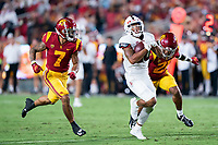 LOS ANGELES, CA - SEPTEMBER 11: Austin Jones during a game between University of Southern California and Stanford Football at Los Angeles Memorial Coliseum on September 11, 2021 in Los Angeles, California.