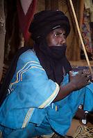 Near Bankilare, southwestern Niger - Bella Man, in Tuareg Boubou with Mouth Veil (Tagulmust)