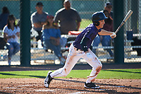 Jonathan Lucio (1) of John F. Kennedy High School in Granada Hills, California during the Baseball Factory All-America Pre-Season Tournament, powered by Under Armour, on January 13, 2018 at Sloan Park Complex in Mesa, Arizona.  (Art Foxall/Four Seam Images)