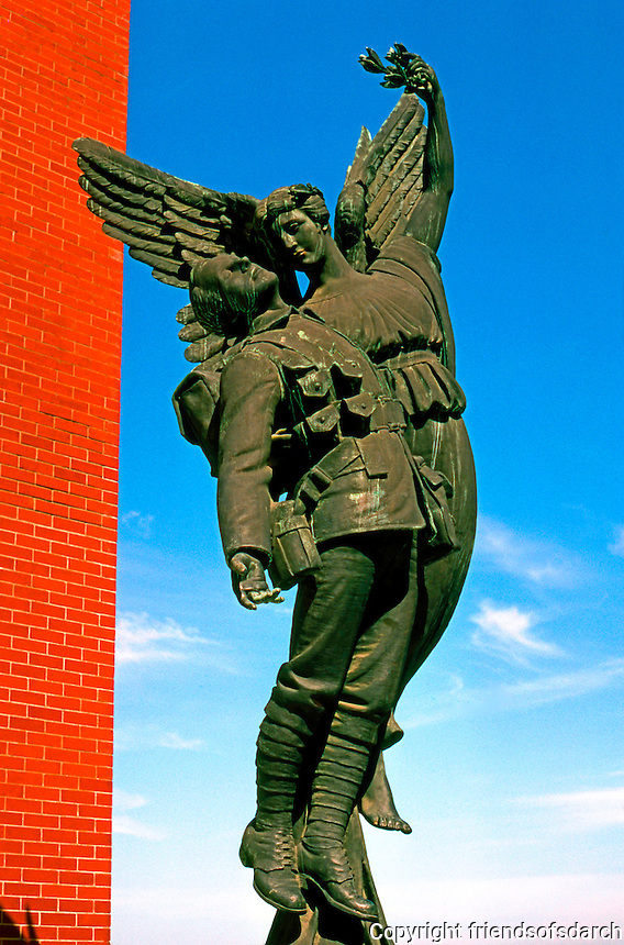Vancouver: Sculpture, CPR Station. Memorial to Employees who died in WWI.  Sculptor Coeur de Lion McCarthy.  Photo '86.