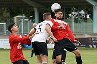 Mustafa Neuli (Haßloch) klärt gegen Nick Unger (Biebesheim) - Biebesheim 03.10.2021: SV Olympia Biebesheim II vs. TV Haßloch, Kreisliga B