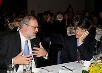 Montreal (Qc) CANADA - April 16 2009 - Exclusive Photo<br /> Pierre Arcand, Quebec  Minister of International Relations and Minister responsible for La Francophonie (L) and <br /> Ecomonist Jeffrey Sachs (R) during Montreal's 2009 Millenium Summit