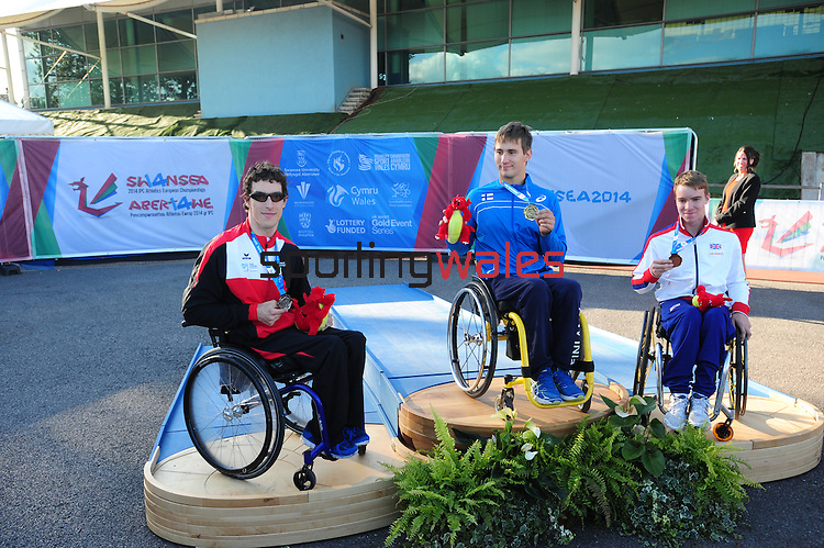 IPC European Athletics Championship 2014<br /> Swansea University<br /> <br /> Medal ceremony: Men's 400m T34.<br /> Gold medal: Henry Manni (FIN)<br /> Silver medal: Bojan Mitic (SUI)<br /> Bronze medal: Isaac Towers (GBR)<br /> <br /> 23.08.14<br /> Chris Vaughan-SPORTINGWALES