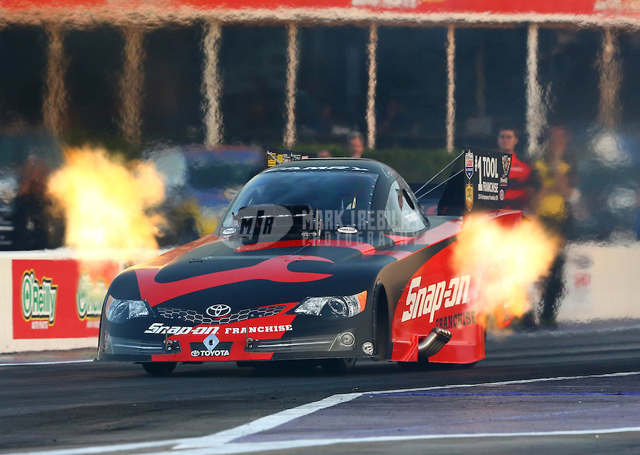 Apr 25, 2014; Baytown, TX, USA; NHRA funny car driver Cruz Pedregon during qualifying for the Spring Nationals at Royal Purple Raceway. Mandatory Credit: Mark J. Rebilas-