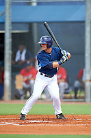 GCL Rays first baseman Erik Ostberg (14) at bat during the first game of a doubleheader against the GCL Twins on July 18, 2017 at Charlotte Sports Park in Port Charlotte, Florida.  GCL Twins defeated the GCL Rays 11-5 in a continuation of a game that was suspended on July 17th at CenturyLink Sports Complex in Fort Myers, Florida due to inclement weather.  (Mike Janes/Four Seam Images)